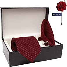 COCO CHANEL Combo of Red Cotton Silk Stain Resistant Necktie, Pocket Square and Cufflink Set for Men