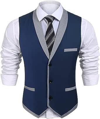 JINIDU Men's Waistcoat Casual Slim Fit Lapel Waistcoat Business Suit Vests with Pocket for Wedding/Party