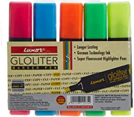 Luxor Gloliter Pens, Assorted - Pack of 5