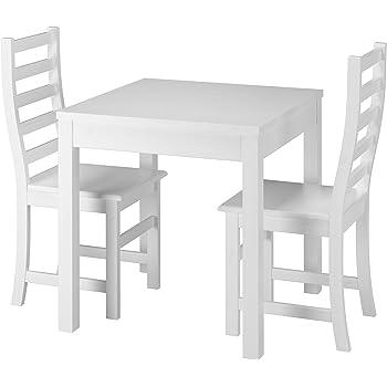 Erst-Holz® Moderne weiße Essgruppe mit Tisch und 2 Stühle Kiefer ...