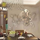 Indexp 3D Verwijderbare Spiegel Bloemen Muursticker Vinyl Art Huiskamer Decoren Stickers Kinderbestek 40*60cm ZILVER