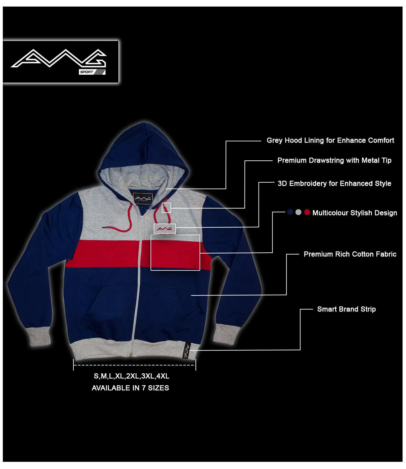 3977e09eb ... AWG – All Weather Gear Men's Cotton Hoodie Sweatshirt with Zip. 🔍.  Sale. Previous. On Sale. On Sale
