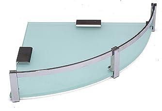 Klaxon Glass Corner Glass Shelf Set (Silver, 3-Pieces)