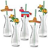 Howaf Pack 36 Fiesta Mexicana pajitas papel Pajas de Beber Decoración de Cóctel sombreros piñatas Pajitas Biodegradables Paji