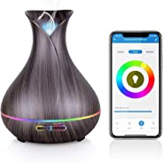 WiFi Essential Oil Diffuser, Maxcio 400ml Smart Aromatherapy Diffuser, Ultrasonic Humidifier with Colorful LED Lights, Smart Phone Remote Control, Alexa&Google Home Timer/Schedule Setting