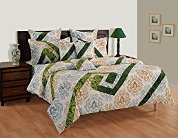 Swayam Shades of India 144 TC Cotton Single Bedsheet with Pillow Cover - White