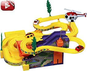 Toykart Kids Track Racer Racing Car Set with Helicopter, Battery Operated Musical Game (Multicolour)