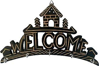 Al Marjaan Handicraft Handicrafted Wooden Key Hanger Holder Wall Hanging De Cor Welcome Home