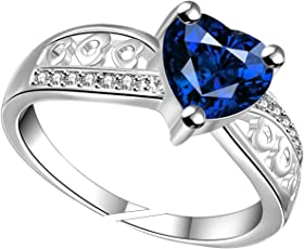 Lady touch Silver platinum Blue Crystal Heart Adjustable Ring For Girls And Women_(Free Size)