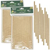 Eco Natural 200 Pajitas de Papel Desechables 20 cm x 6 mm, 100% Ecológico, Reciclable y Biodegradable, Libre de BPA, Color Ma