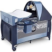 Lionelo Sven Plus boîte 2 en 1 lit bébé lit bébé table à langer jouets baldaquin suspendu avec moustiquaire entrée…