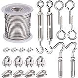 21Pcs Kit de Crochets de Câble Métallique, Crochets et Tendeurs de Câble Métallique PVC, Cable en Aicer Inoxydable, Câble de