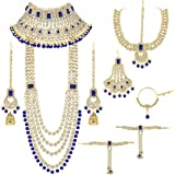 Peora Ethnic Indian Traditional Gold Plated Kundan Dulhan Bridal Jewellery Set with Choker Earrings Maang Tikka Hathphool for