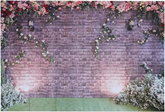 LEDMOMO Brick Wall Flowers Vinyl Photography Background Computer Printed Wedding Photography Backdrops for Photo Studio