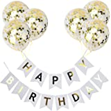 Happy Birthday Banner with 6 Gold Confetti Latex Birthday Balloons Birthday Decoration Supplies for Birthday Party (White)