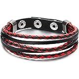 COOLSTEELANDBEYOND Bracelet Fait Main Hommes Femme - Multi-Brin Noir Rouge Tressé Cuir Véritable Envelopper Bracelet - Snap B