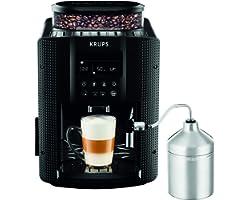 Krups Essential Machine à Café à Grain, Machine à Café, Broyeur Grain, Cafetière Expresso, Ecran LCD, Nettoyage Automatique,