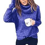 Tomwell Suéter Punto Mujer Manga Larga Suelto Otoño E Invierno Jersey Long Pullover Texturizado con Cuello Alto Elegante Clás