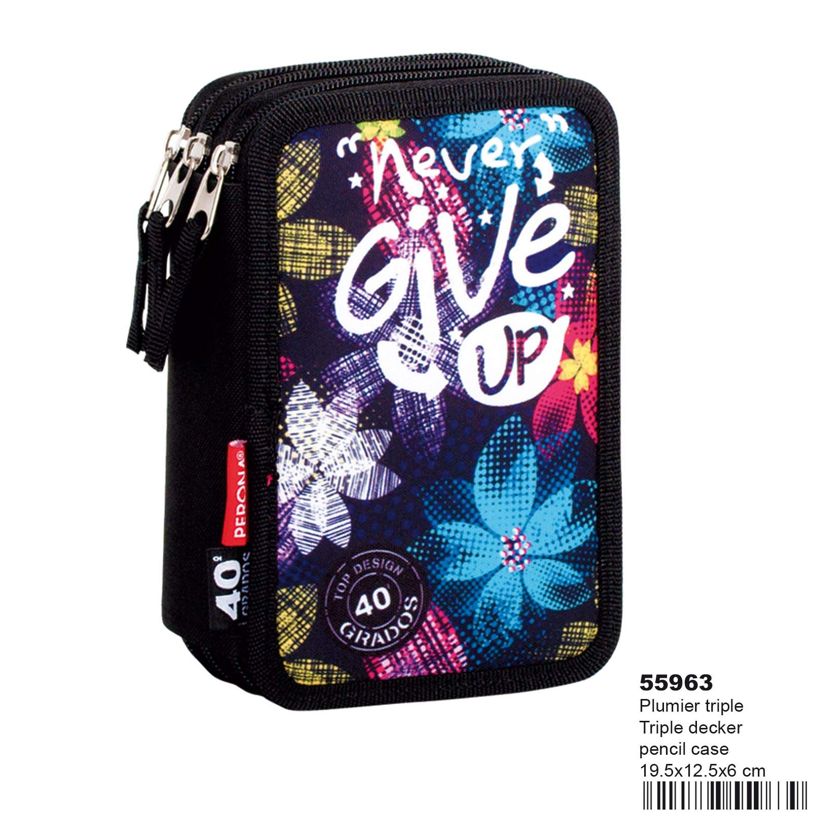 Montichelvo Montichelvo Triple Pencil Case CG Never Give Up Estuches, 20 cm, Multicolor (Multicolour)
