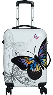 Tramp   Badger Polycarbonate Hard Sided Luggage 20 inch Butterfly Printed Trolley Bag   White