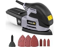 Jellas Levigatrice 13500 RPM, Levigatrice Mouse Multifunzioni con Scatola Raccolta di Polvere, Tampone Levigatrice a Dito Int