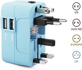 RedRiver Stromadapter: Universal USB reiseadapter mit 2 USB-Ports aus 150 Ländern weltweit US UK EU AU Universal fusionierten Sicherheit AC-in Einem Ladegerät mit LED-Betriebsanzeige (Blau)