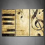 First Wall Art Nota Y Piano Llaves En los PapelPintura de la Pintura de la Pared La impresión de la Imagen en la Lona Música