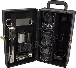 Black Butterfly Wooden Bar Tools Set -(Black)