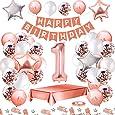 MMTX Palloncini Compleanno 1 Anni Oro Rosa Compleanno Decorazioni per Feste Donna Addobbi Compleanno Bomboniere 1 Anni Ragazza con Tovaglia Konfetti Palloncini in Lattice Stampati