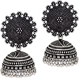 Preyans from jaipur mart women's traditional silver plated oxidised jhumki earrings (GSE247SLV)