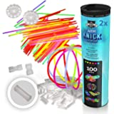 200 bâtons lumineux, bâtons fluorescents, bracelets plus 200 x connecteurs 2D, 4 x connecteurs ronds de qualité professionnel