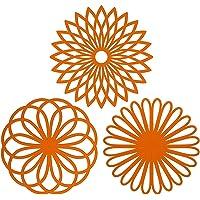 Silicone multiuso  Sottopentola a forma di fiore  set di 3 pezzi di alta qualit agrave   durevole  isolante flessibile antiscivolo calde e sottobicchieri per tazza Arancione