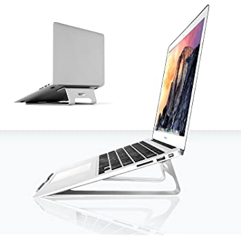 Abovetek supporto universale in alluminio color argento (27,9 cm ~ 38,1 cm) – raffreddante, resistente docking station per notebook– evita problemi ad occhi, polsi, collo e spalla – Apple MacBook Air, Pro, iPad, tablet, Chromebook, PC.