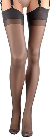 SARA calza da reggicalze setificato 20 den, fissata, punta rinforzata