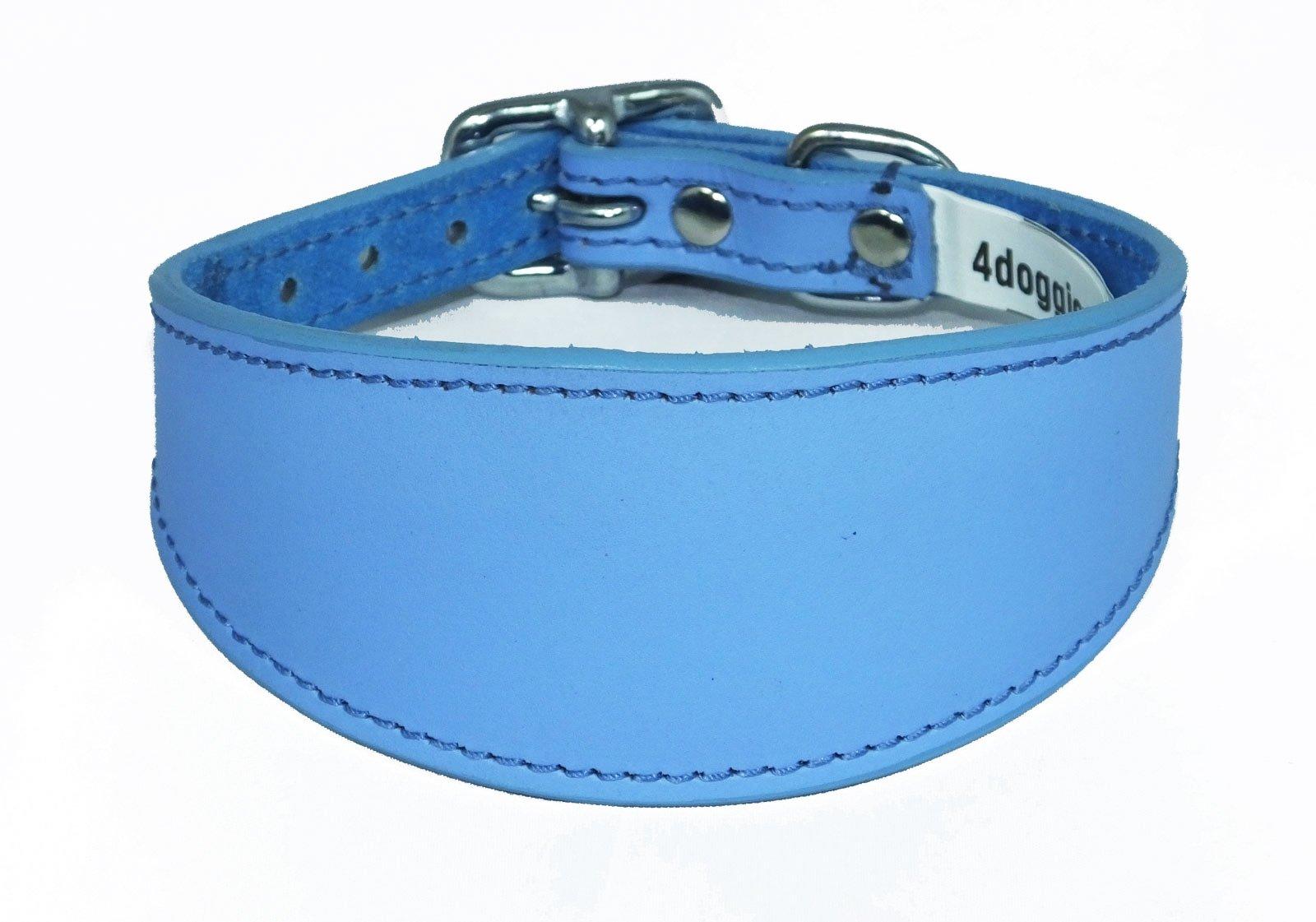 14-17 Inch Plain Blue Leather Greyhound Collar