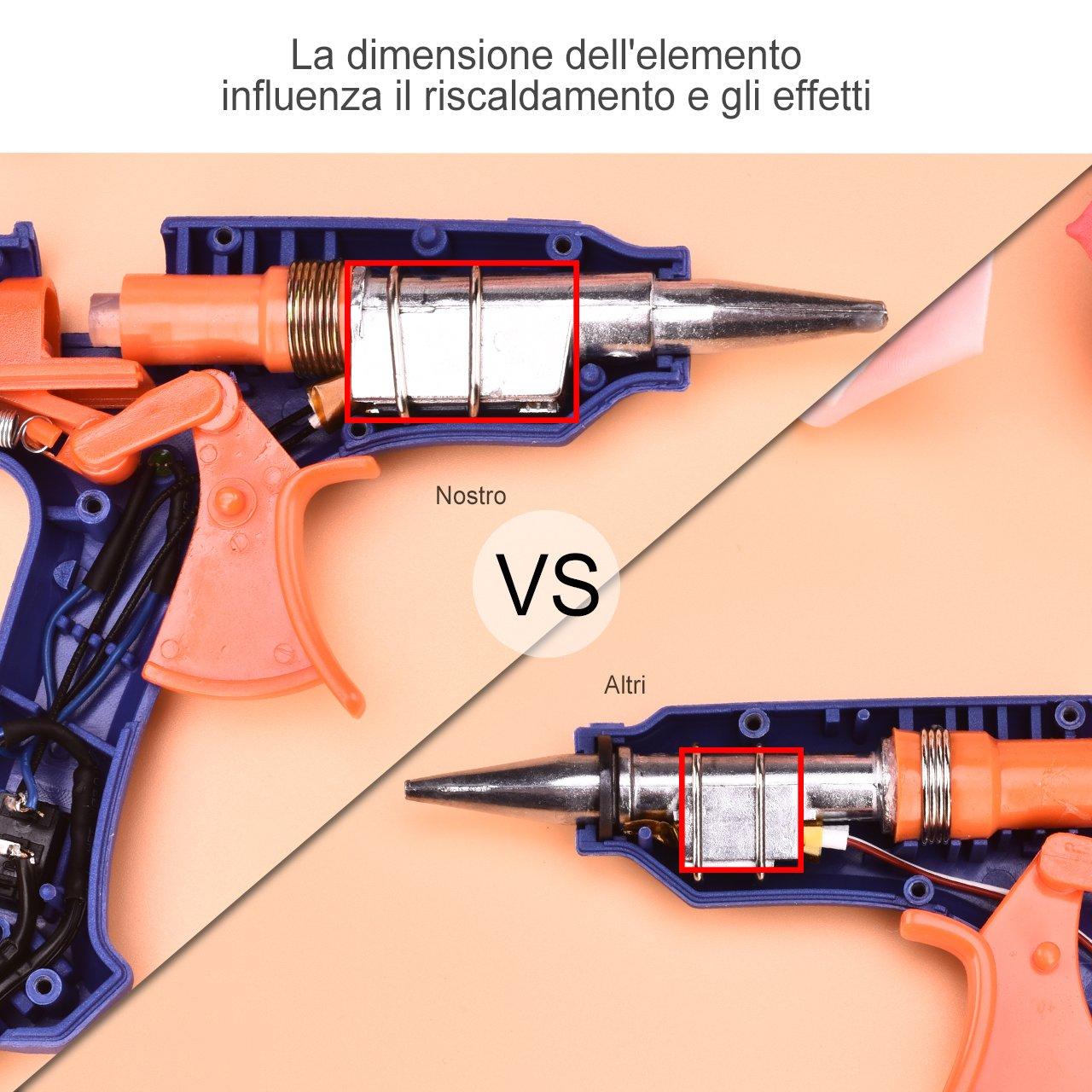 Pistola Colla a Caldo,TopElek Mini Pistola a Caldo con 50 Pezzi Stick di Colla Alta Temperatura Pistola a Colla Grilletto Flessibile Per Fai Da Te Arti e Mestieri Progetti 20W, Nero 50-Pezzi-Stick