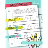 Aprendiendo a repasar: Líneas Formas Letras: Libro de actividades para niños: +3 años: Un cuaderno de actividades infantiles