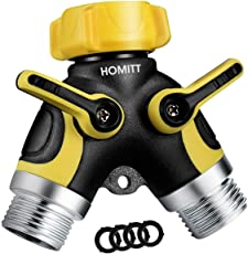 Homitt Hose Splitter,Hose Splitter 2 Way with Comfortable Rubberized Grip,Easy to Open Valves Garden Hose Splitter for Easy Life