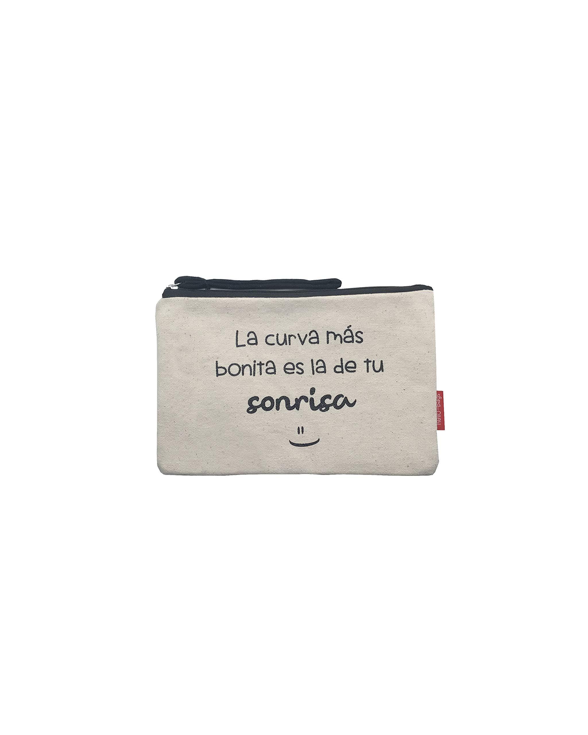 71bxawkDNmL - Bolso Neceser/Cartera de Mano. Algodón 100%. Blanco. con Cremallera y Forro Interior. 23 * 15,5 cm. Incluye sobre Kraft…