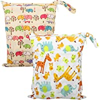 Zooawa Wet Dry Bag, 2 Pack Waterproof Reusable Portable Cloth Diapers Wet Bag with Double Zippered Pockets Carrying Storage Travel Bag Organizer for Baby Infants, Giraffe + Alphabet Animals
