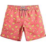 MaaMgic heren zwemshort FAST DRYING boardshort trainingsbroek met mesh voering en verstelbaar trekkoord, Banaan sinaasappel,
