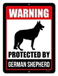 Honey Dew Gifts Beware of Dog Sign Warning Protected by German Shepherd 9 x 12 Inch Beware of Dog Warning Metal Aluminum...