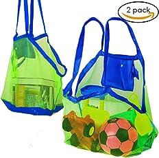Bramble Set di 2 borse da spiaggia a rete. Perfette per portare i giocattoli da spiaggia, asciugamani ecc. Ideali per la piscina. borsa giochi mare. Ottime borse per le vacanze estive