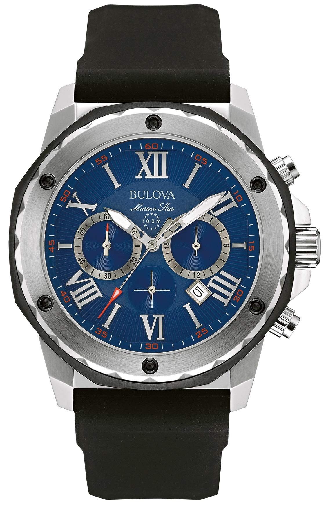 Bulova Men's Designer Chronograph Watch Rubber Strap – Water Resistant Blue Dial Marine Star 98B258