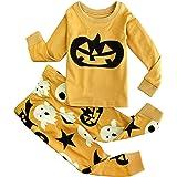 FANCYINN Niños La Pijama de Manga Larga de algodón para niños Establece la Calabaza Impresa 2 Piezas PJS Ropa de Dormir Ropa