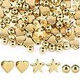 SAVITA 150 Pezzi Perline Distanziali Placcate Oro, Ciondoli a Cuore Perline Distanziali a Forma di Stella a Forma di Stella per Braccialetti di Gioielli Fai da Te