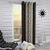 Home Sizzler 1 Piece Eyelet Polyester Window Curtain, 5ft, Brown