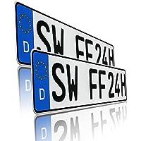 Finest Folia DIN-zertifizierte Kfz-Kennzeichen Standardgröße 520x110mm passend für Auto Fahrradträger Anhänger…