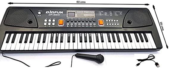 Toyshine 61 Keys Piano with DC Output, Mobile Charging, USB and Microphone Included, Black