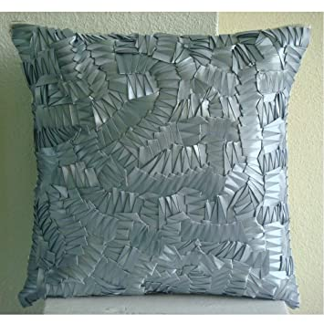 Silver Mist - 40x40 cm Square Decorative Throw Silver Silk Cushion Covers  Embroidered with Satin Ribbons: Amazon.co.uk: Kitchen & Home